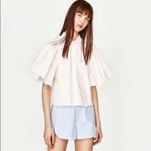 NWT Zara White Puff Sleeve Tie back Top